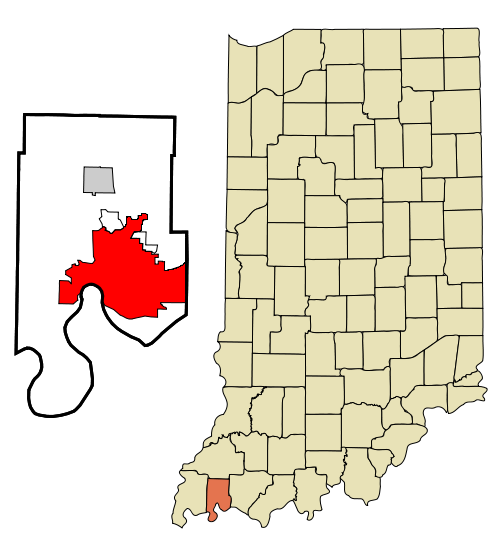 Vanderburgh County Indiana Incorporated and Unincorporated areas Evansville Highlighted