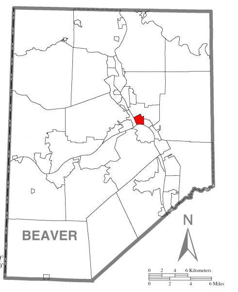 Map of Rochester, Beaver County, Pennsylvania Highlighted