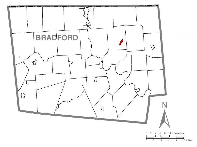 Map of Rome, Bradford County, Pennsylvania Highlighted
