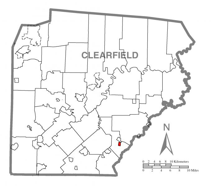 Map of Houtzdale, Clearfield County, Pennsylvania Highlighted