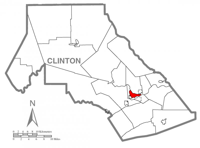 Map of Lock Haven, Clinton County, Pennsylvania Highlighted