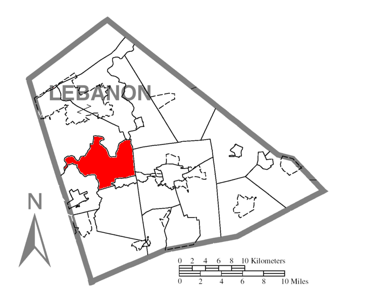 Map of Lebanon County, Pennsylvania Highlighting North Annville Township