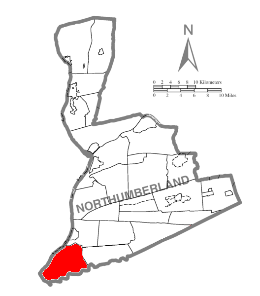 Map of Northumberland County Pennsylvania Highlighting Lower Mahanoy Township