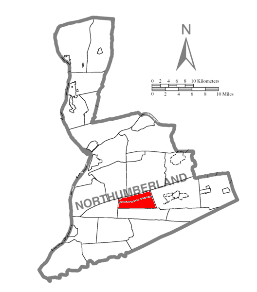 Map of Northumberland County Pennsylvania Highlighting Zerbe Township