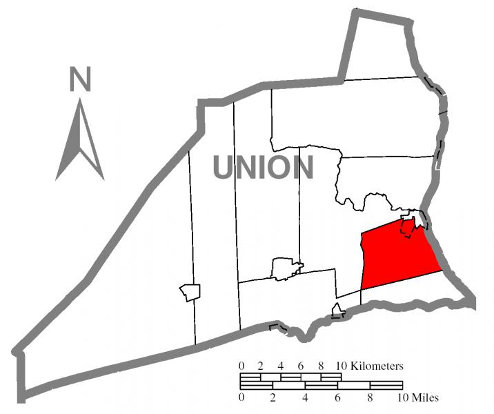 Map of Union County, Pennsylvania Highlighting  East Buffalo Township