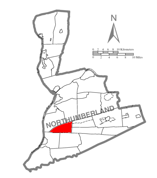 Map of Northumberland County Pennsylvania Highlighting Little Mahanoy Township