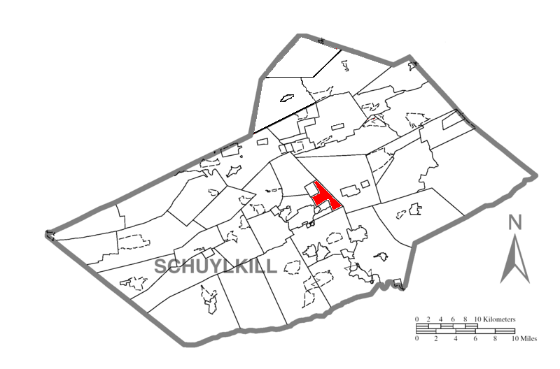 Map of Schuylkill County, Pennsylvania Highlighting East Norwegian Township