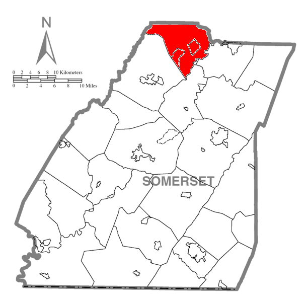 Map of Somerset County, Pennsylvania highlighting Conemaugh Township