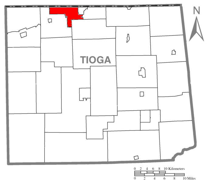 Map of Tioga County Pennsylvania Highlighting Osceola Township